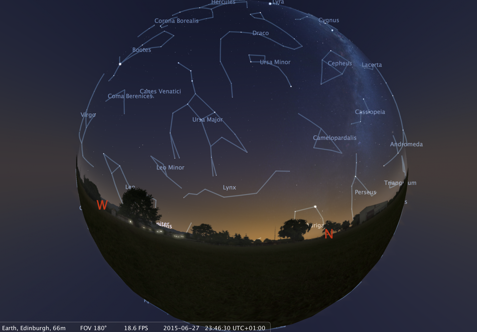 An image of the sky above Edinburgh made using Stellarium planetarium software. Users of the new headset will see a similar image, but will be totally immersed in the view. Credit: A. Lawrence.