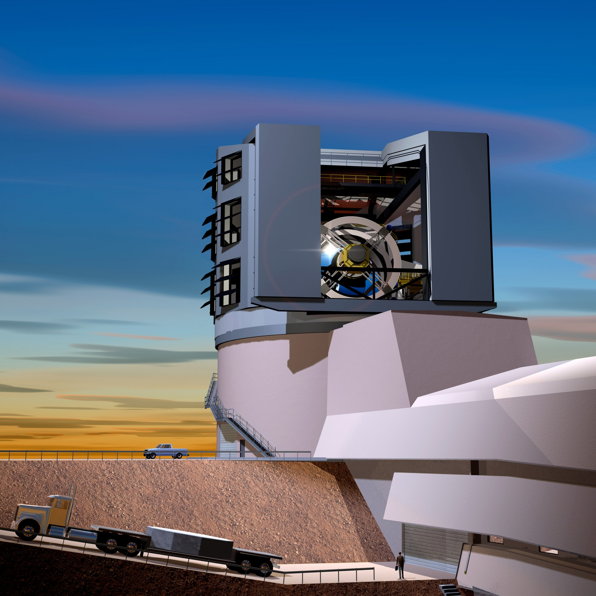 In this artist's rendition, the LSST primary mirror is seen through the slit of the dome at sunset. Image: LSST