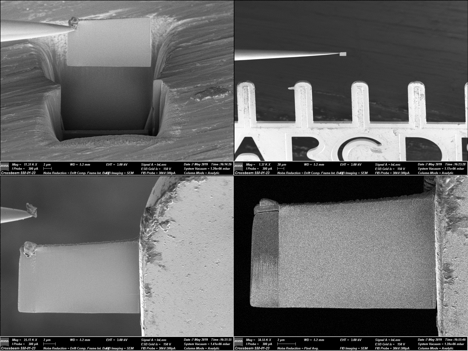 Four images showing the stages of an in-situ liftout for TEM sample preparation.