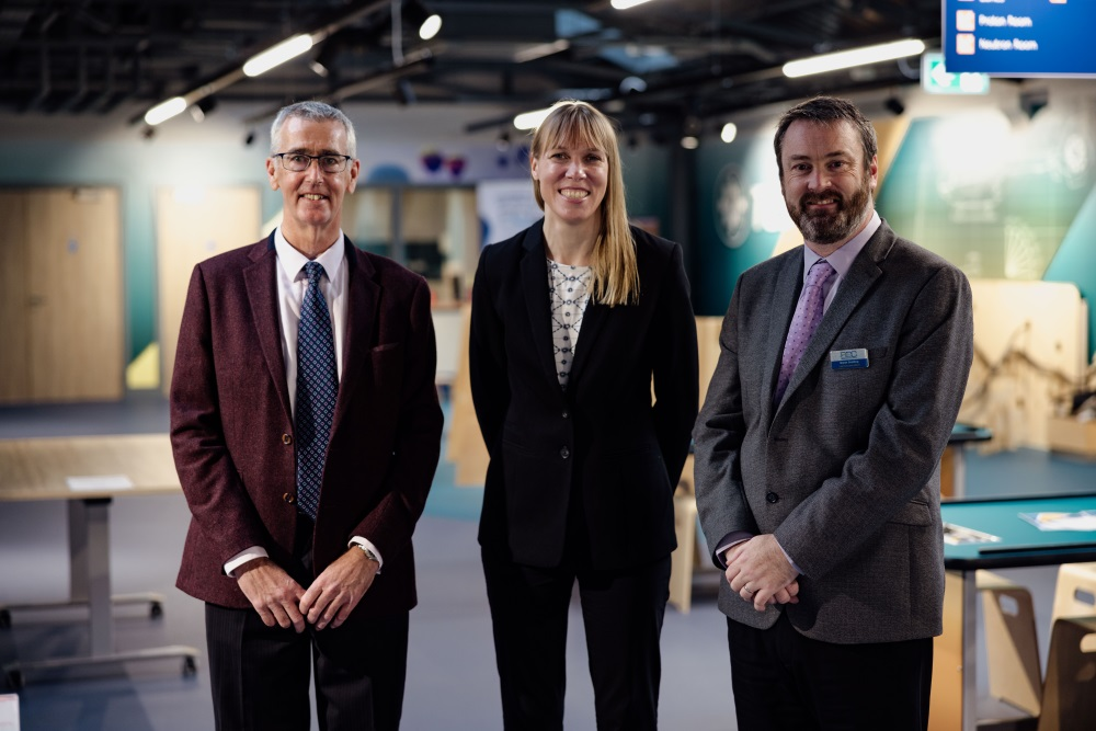 Left to right: Sandy Morton, Chair of the Board of Trustees at Aberdeen Science Centre; Professor Catherine Heymans, Astronomer Royal for Scotland; and Bryan Snelling, Chief Executive of Aberdeen Science Centre.