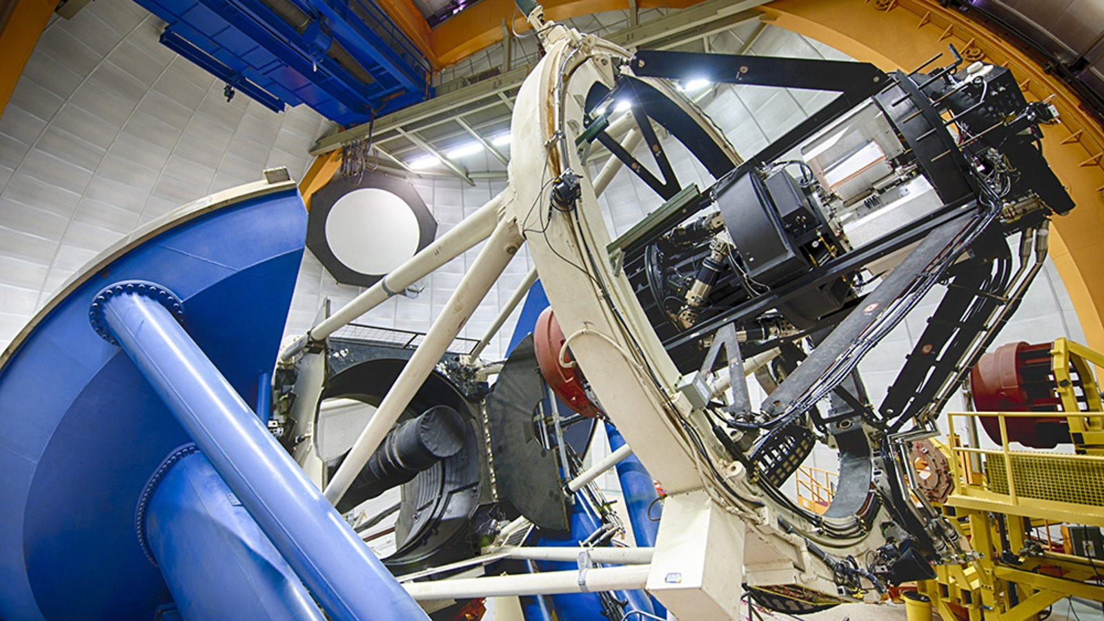 Figure 2: The 4-meter Blanco telescope in Chile, where the DES observations have been taken. The camera's optical corrector was assembled  at UCL, with STFC funding. Image credit: the DES collaboration.