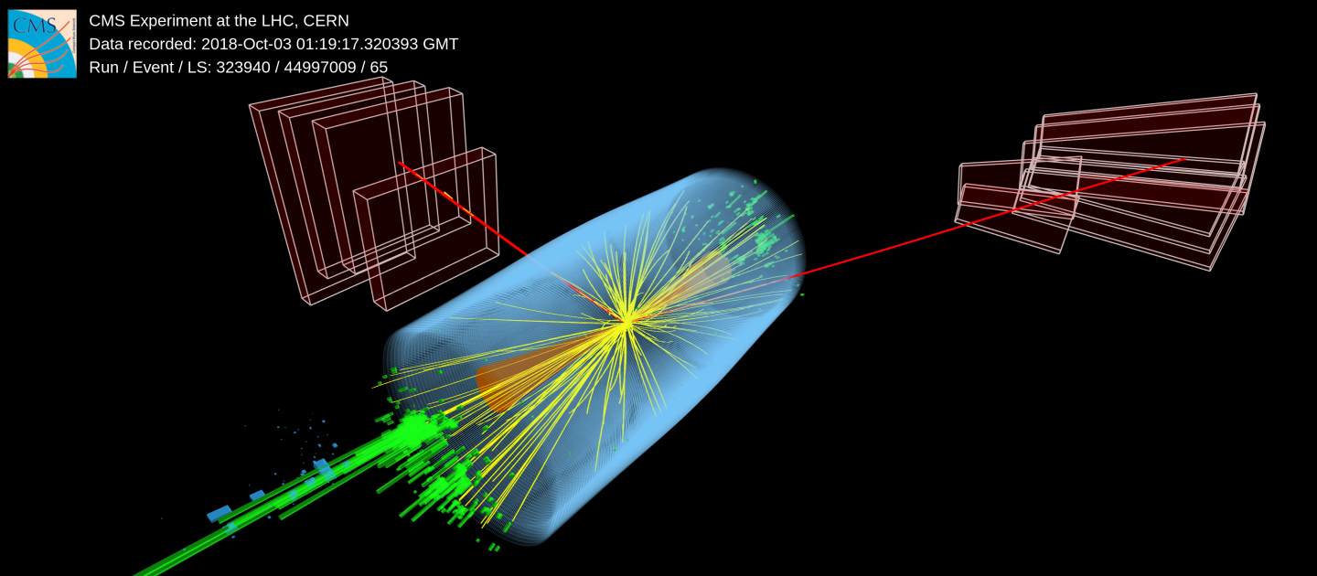 The forward jets from the VBF are depicted by the orange cones and the muons are drawn as long red lines. Credit: CMS Collaboration