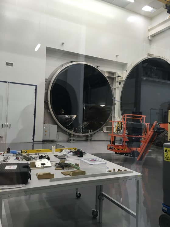 A 10-8mBar vacuum chamber used to test equipment in RAL Space.  Photo courtesy of Grace Richards.