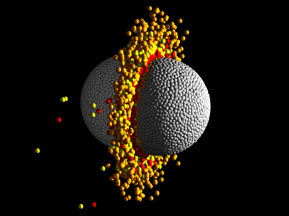 Hydrodynamical simulation of a high-speed head-on collision between two 10 Earth-mass planets. The temperature range of the material is represented by four colours - grey is the coolest and red is the hottest. Such collisions eject silicate mantle material leaving a high-iron content, high-density remnant planet similar to the characteristics of Kepler-107c. Credit: Zoe M. Leinhardt & Thomas Denman, University of Bristol