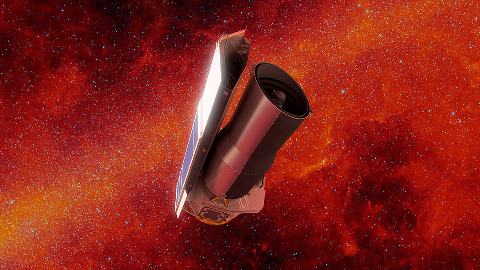 This artist's concept depicts NASA's Spitzer Space Telescope in space much as it would appear at the end of its mission on January 30, 2020. The backdrop depicts the sky in infrared light much as Spitzer would have seen it early in its mission. Credit: NASA/JPL-Caltech/R. Hurt (IPAC)