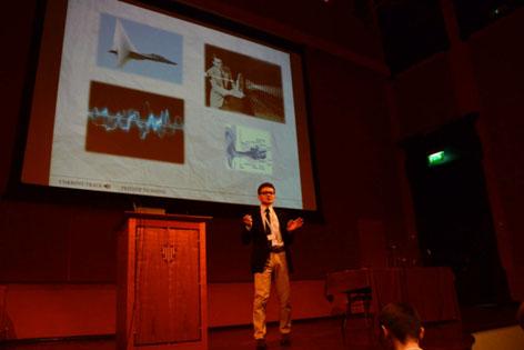 Michal Kepa gives his winning presentation.
