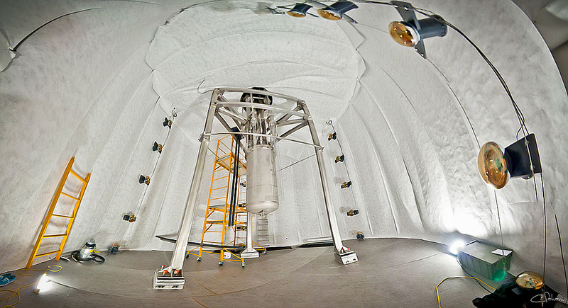 LUX: underground and in the tank. The tank will be filled with water to remove neutrons and external radioactivity byproducts. 20 large photomultipliers act as a veto in the water tank. Photo by C.H. Faham