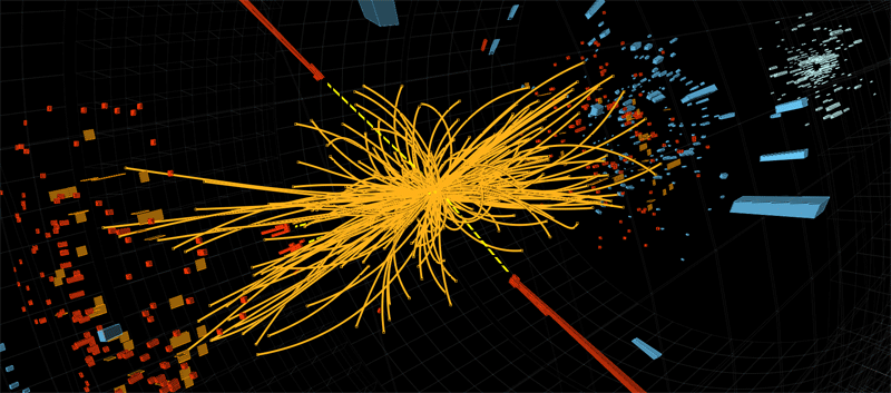 A proton-proton collision event in the CMS experiment producing two high-energy photons (red towers). This is what we would expect to see from the decay of a Higgs boson but it is also consistent with background Standard Model physics processes. © CERN 2012