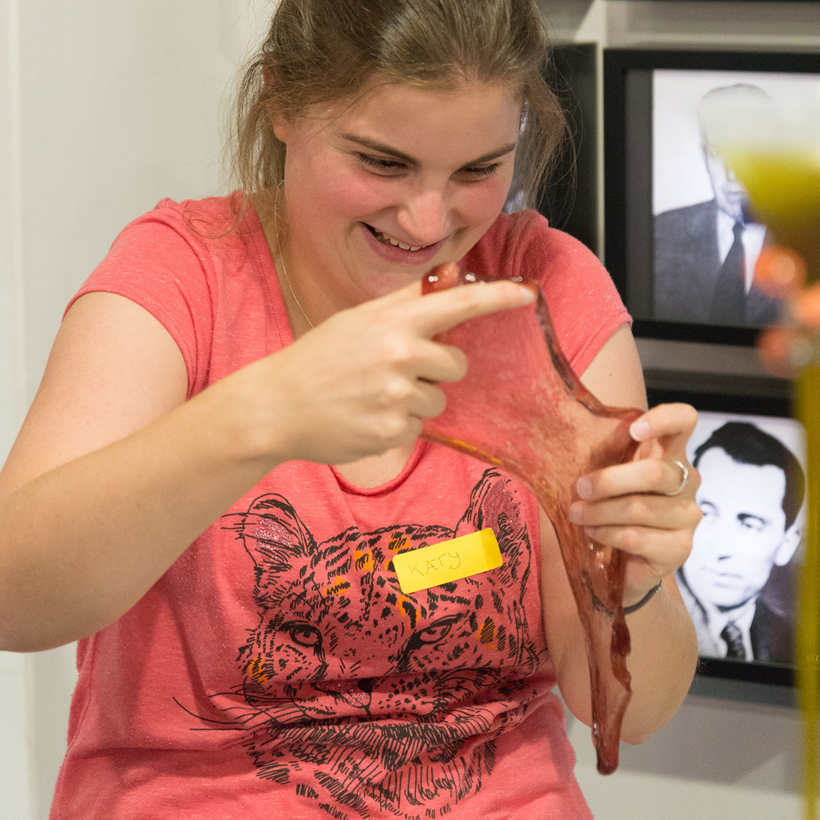 Katy Dickinson with slime. Image: Dr Michiel Hermes.
