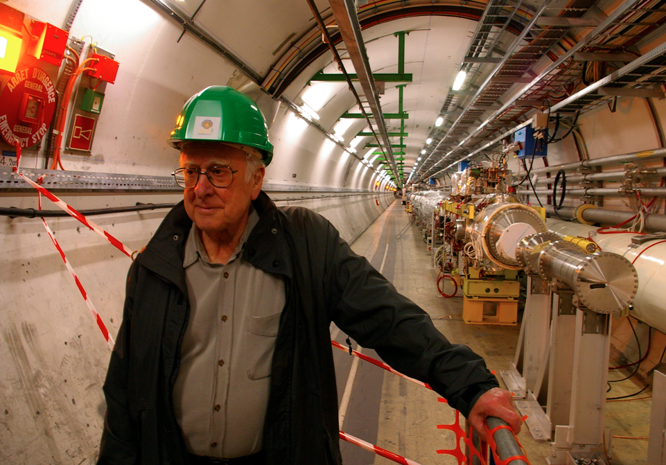 Peter Higgs in the LHC tunnel.