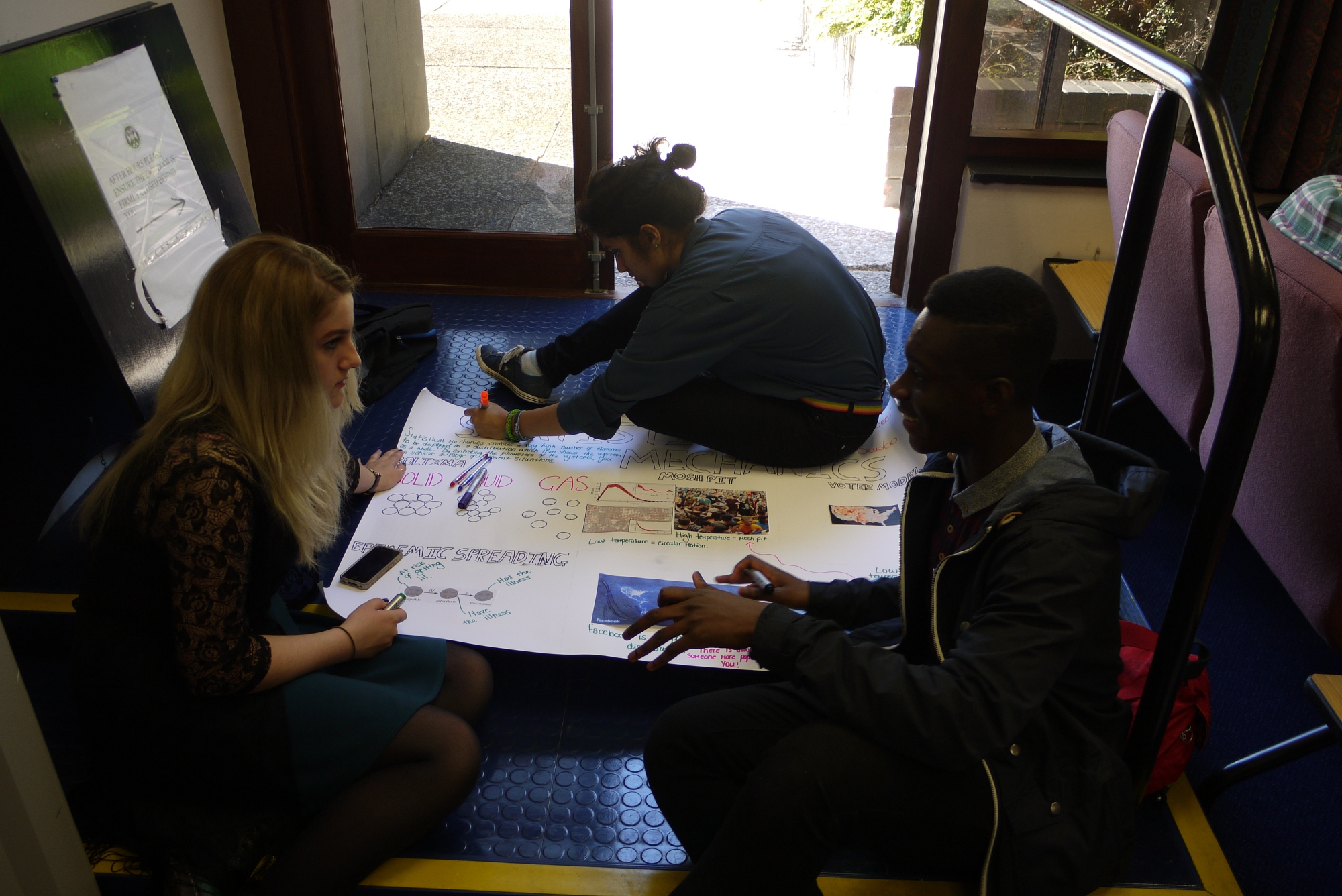 Attendees completing a poster.