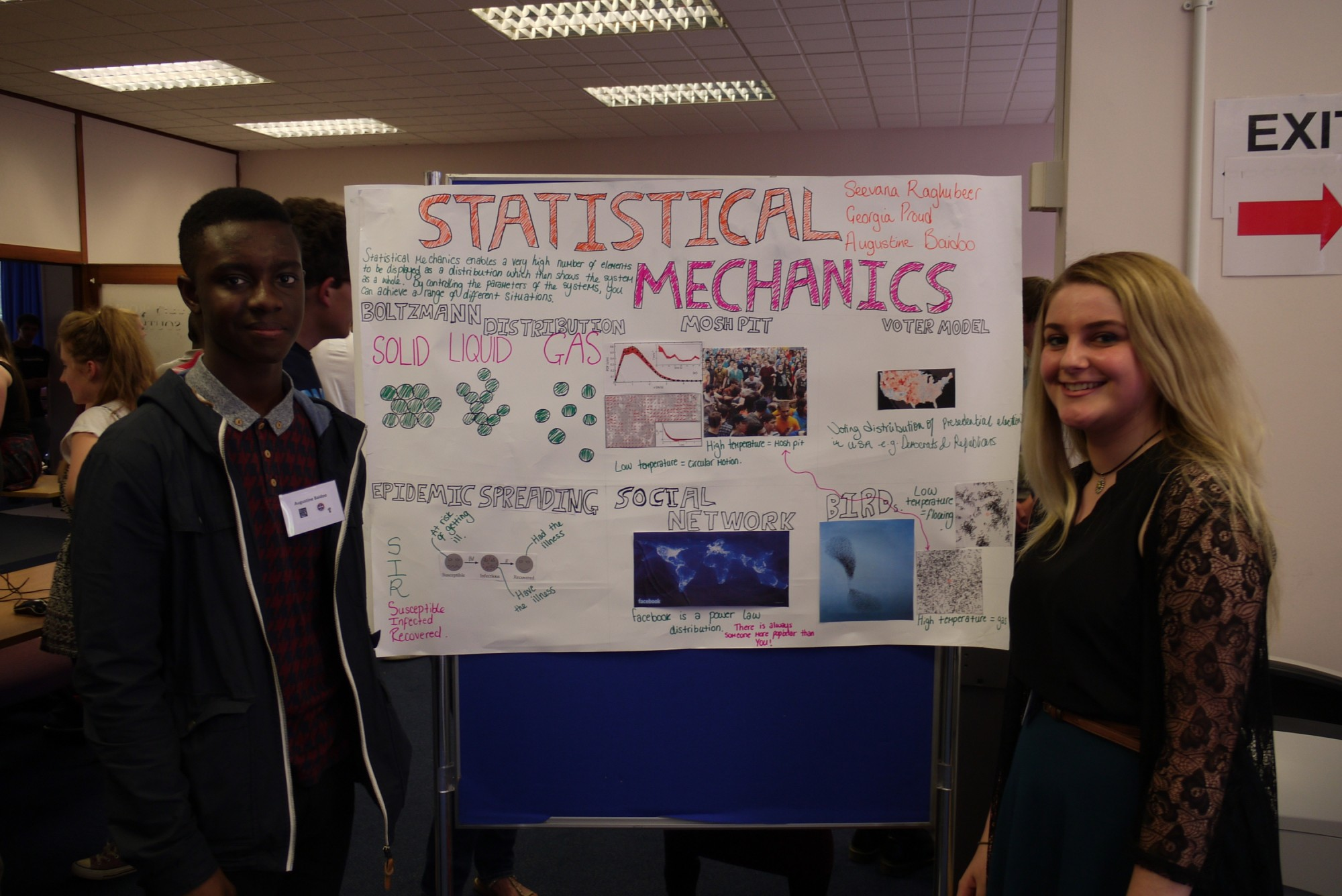 The statistical mechanics team with their poster.