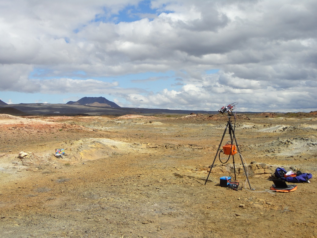 A prototype  of the PanCam instrument in Iceland.
