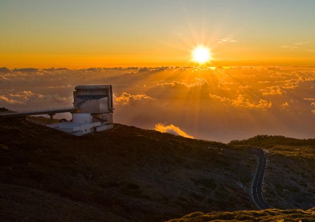 Sunset at the Telescopio Nazionale Galileo on La Palma, Canary Islands.