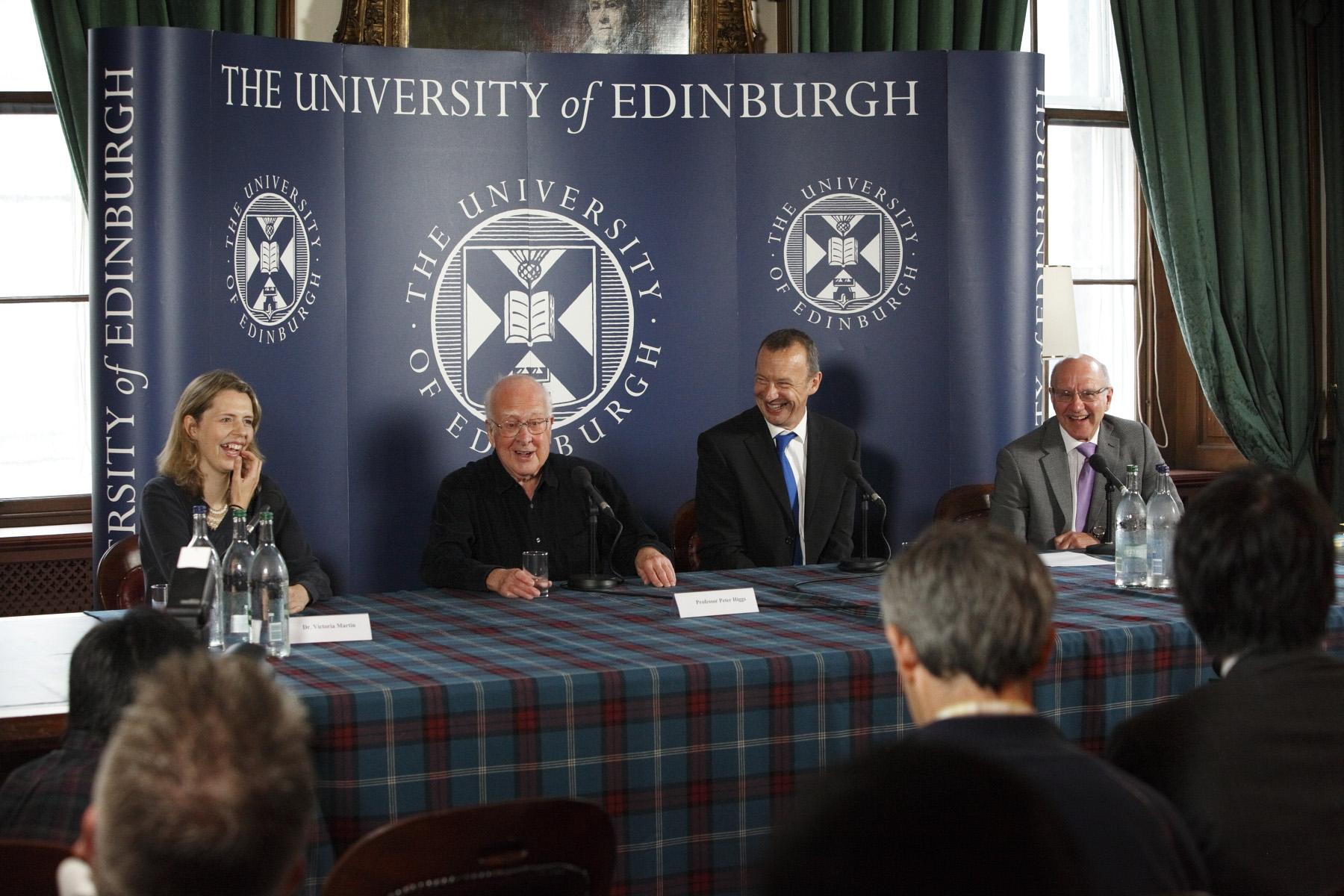 Victoria Martin, Peter Higgs, Richard Kenway and Alan Walker. Image copyright Graham Clark.