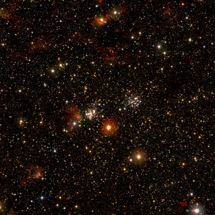The third of a set of three images which zoom in on a giant star-forming region, illustrating the level of detail that is present in the full image.