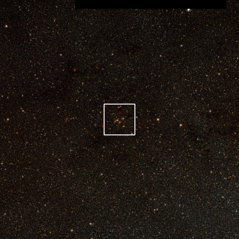 The first of a set of three images which zoom in on the giant star-forming region known as G305