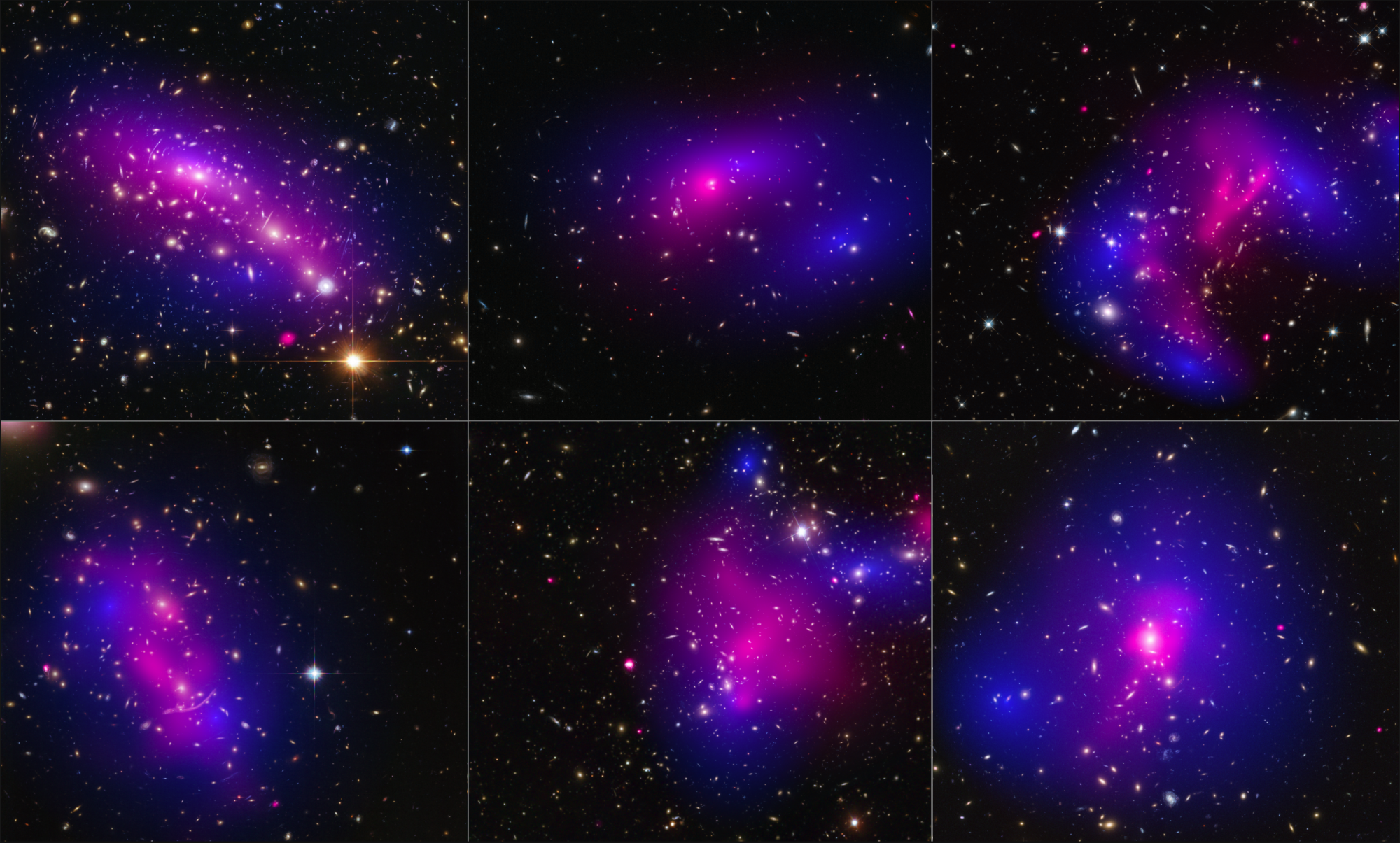 Six galaxy clusters pictured by NASA's Hubble Space Telescope and Chandra X-ray Observatory. Stars and dark matter are shown in blue, and impacted gas in pink. Credit: NASA/ESA/STScI/CXC