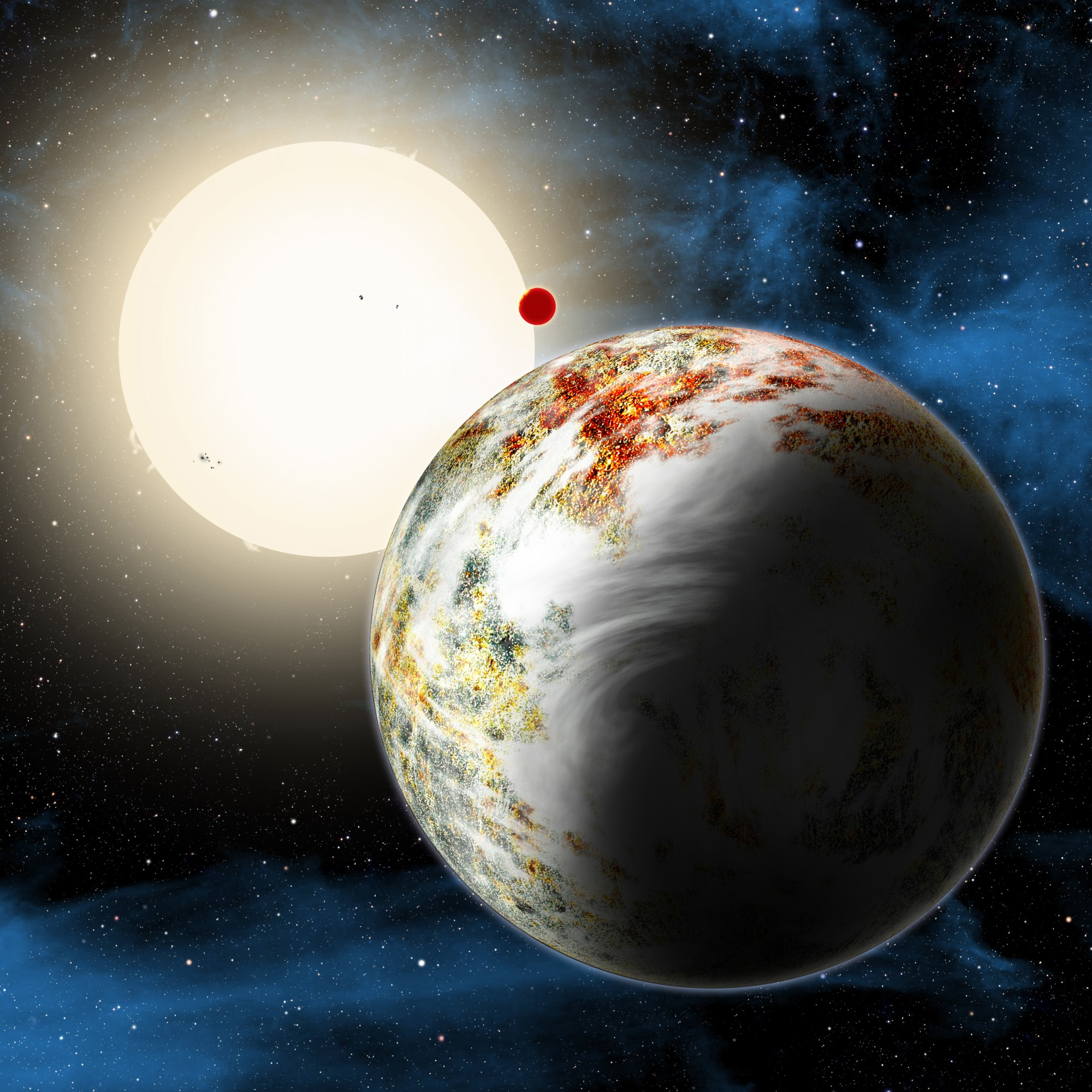 "The newly discovered ""mega-Earth"" Kepler-10c dominates the foreground in this artist's conception. Its sibling, the lava world Kepler-10b, is in the background. Both orbit a sunlike star. Kepler-10c has a diameter of about 18,000 miles, 2.3 times as large as Earth, and weighs 17 times as much. Therefore it is all solids, although it may possess a thin atmosphere shown here as wispy clouds. Image: David A. Aguilar (CfA)"