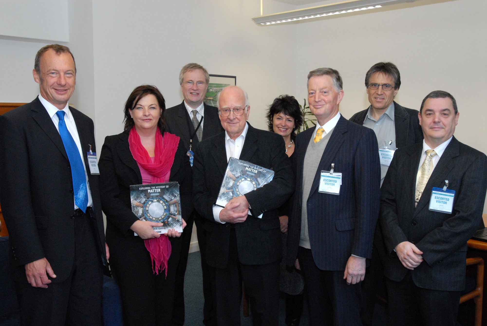 From left to right: Richard Kenway, Fiona Hyslop, Peter Higgs, Anne Glover, Ken Smith, Peter Clark and Steve Chapman at the end of the meeting.