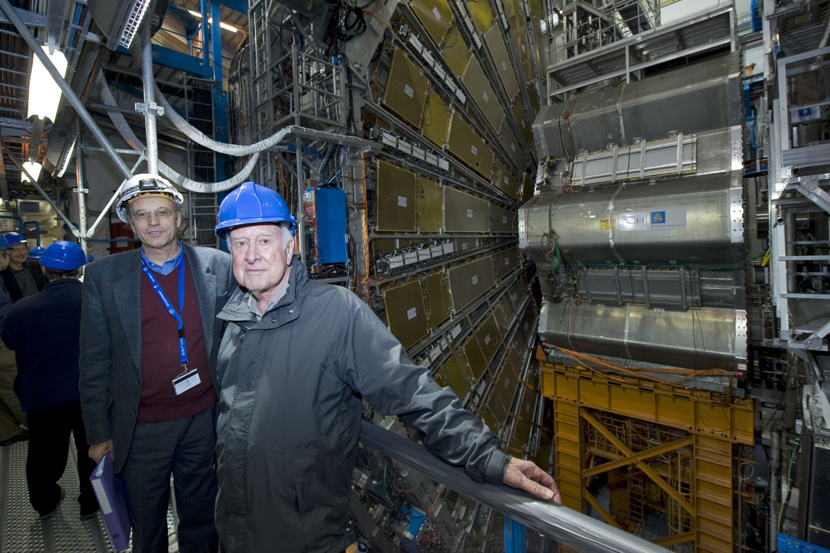 Peter Jenni, spokesperson for the ATLAS experiment, with Peter Higgs in front of the ATLAS experiment. Photograph copyright Claudia Marcelloni, ATLAS & CERN.