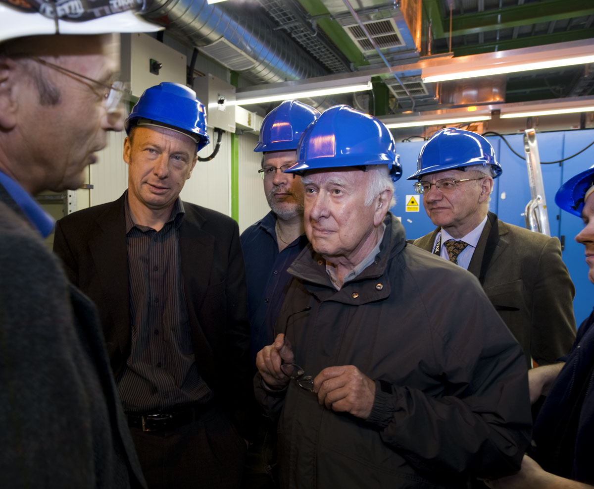 From left to right: Peter Jenni, Richard Kenway, Franz Muheim, Peter Higgs, Alan Walker and Peter Reid whilst visiting the ATLAS experimental cavern. Photograph copyright Claudia Marcelloni, ATLAS & CERN.