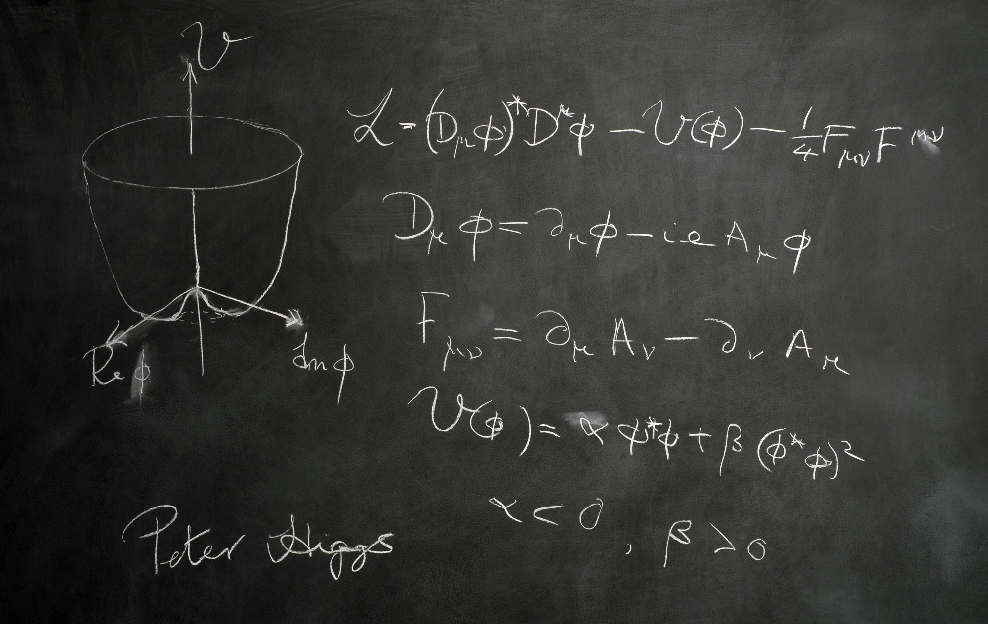 Blackboard prepared by Peter Higgs for photo-shoot on 17 June 2009.