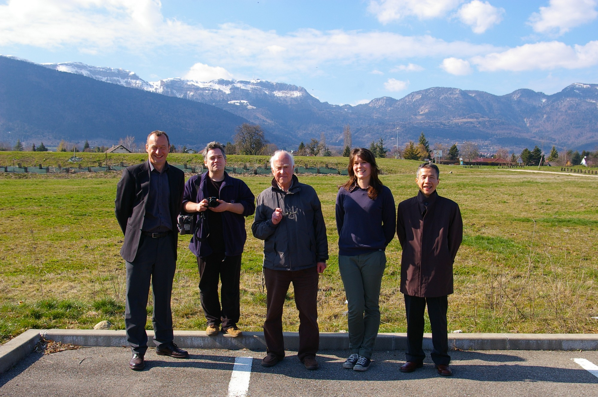 Left to right: Richard Kenway, Peter Reid, Peter Higgs, Jessica Griggs and Yuehong Xie at the CMS site in Cessy. Photograph copyright Alan Walker, University of Edinburgh.