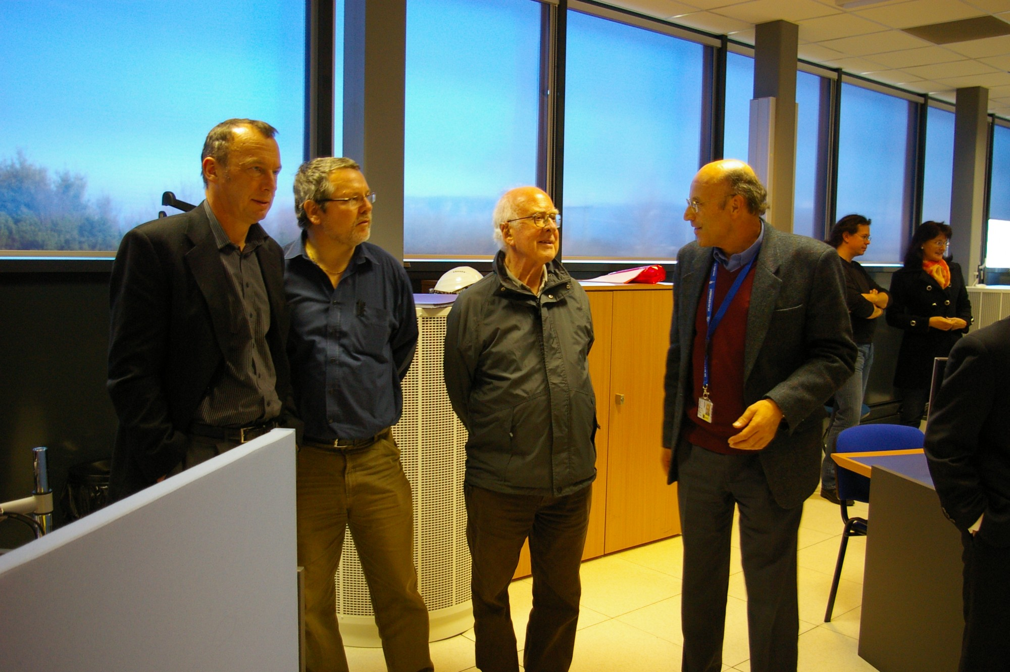 From left to right: Richard Kenway, Franz Muheim, and Peter Jenni ATLAS spokesperson on the visit to the ATLAS Experiment Control Room. Photograph copyright Alan Walker, University of Edinburgh.