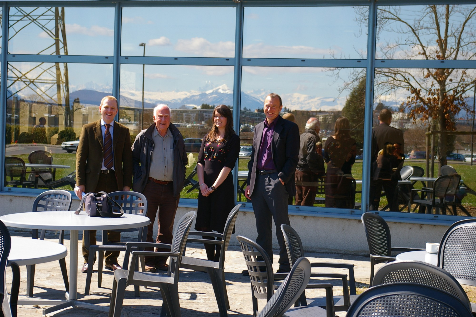 Left to right: Ronnie Kerr, Peter Higgs, Jessica Griggs and Richard Kenway relaxing at CERN Restaurant 1 after the conclusion to the visit. Photograph copyright Alan Walker, University of Edinburgh.