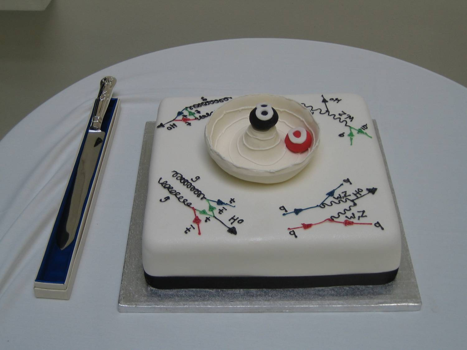 This special 80th birthday cake was presented to for Peter Higgs by his colleagues in the Particle Physics Theory & Experiments Groups. The cake was made by Have Your Cake and Eat It in Strathearn Road, Edinburgh.