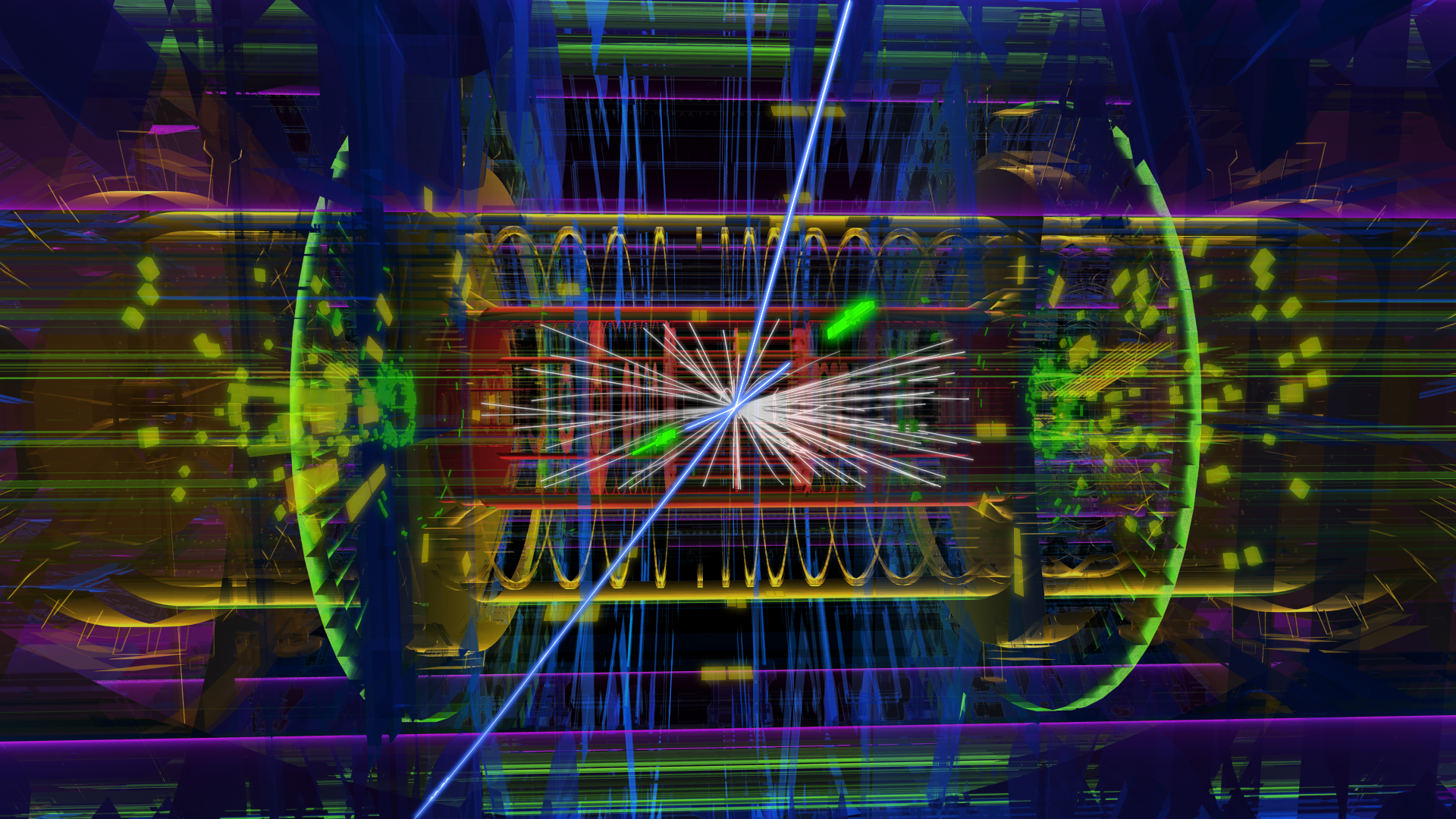 A proton-proton collision in the ATLAS experiment.  The lines and boxes illustrate particles produced in the collision and detected by ATLAS.  The two bright green lines illustrate two detected high-energy electrons, the blue lines illustrate detected high-energy muons. produced in the high energy collision.  These two electron and two muons may be from the decay of a Higgs boson produced in the collision.