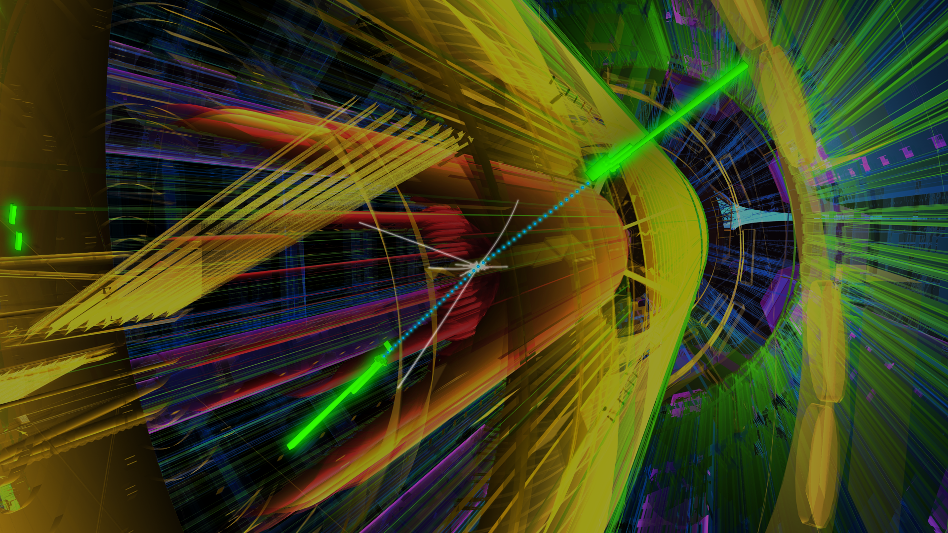 A proton-proton collision in the ATLAS detector, the bright green rods illustrate two detected photons produced in the high energy collision.  These could be the result of a Higgs boson being produced and decaying into two photons.
