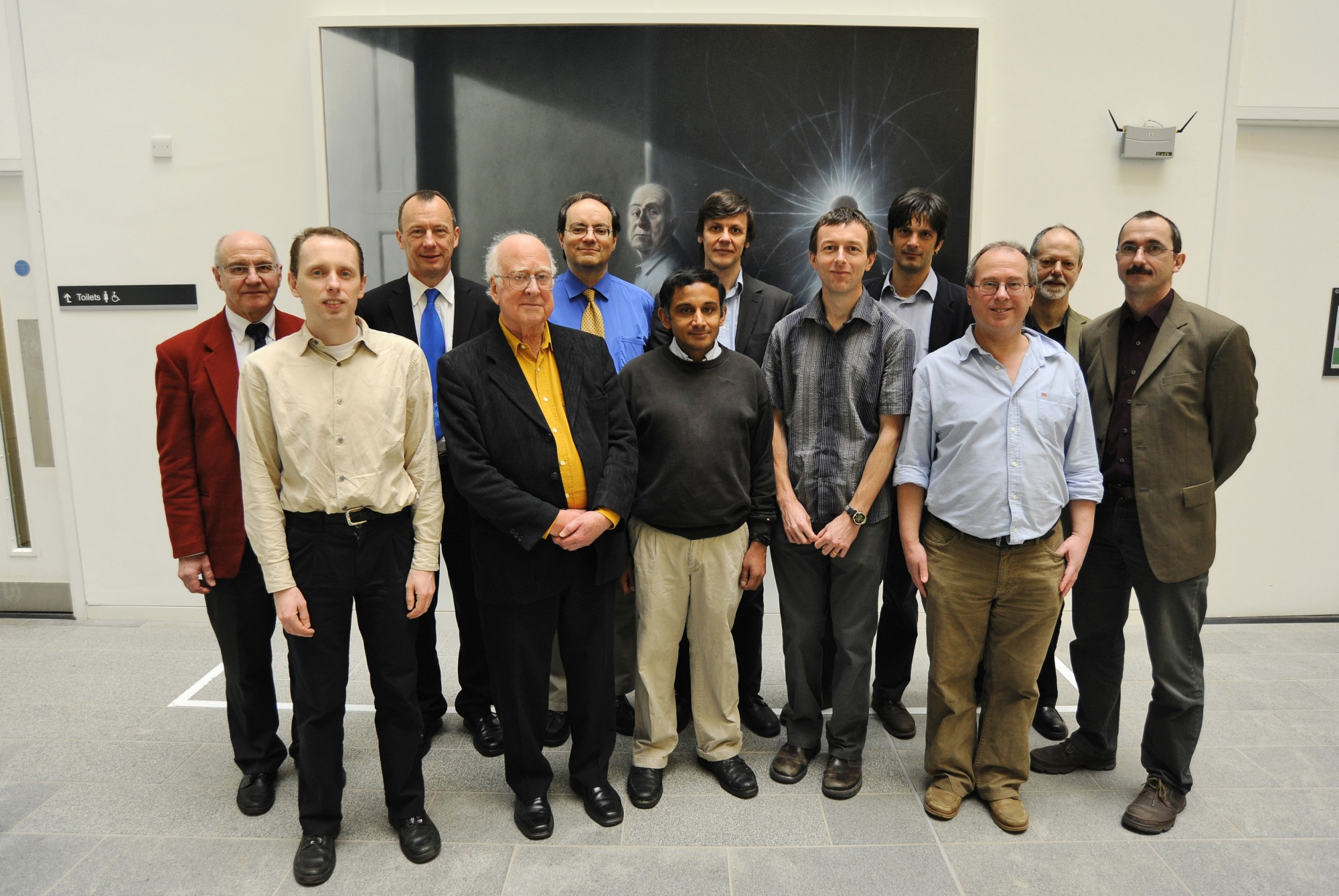 Peter Higgs with members of the Particle Physics Theory group of the School of Physics and Astronomy.