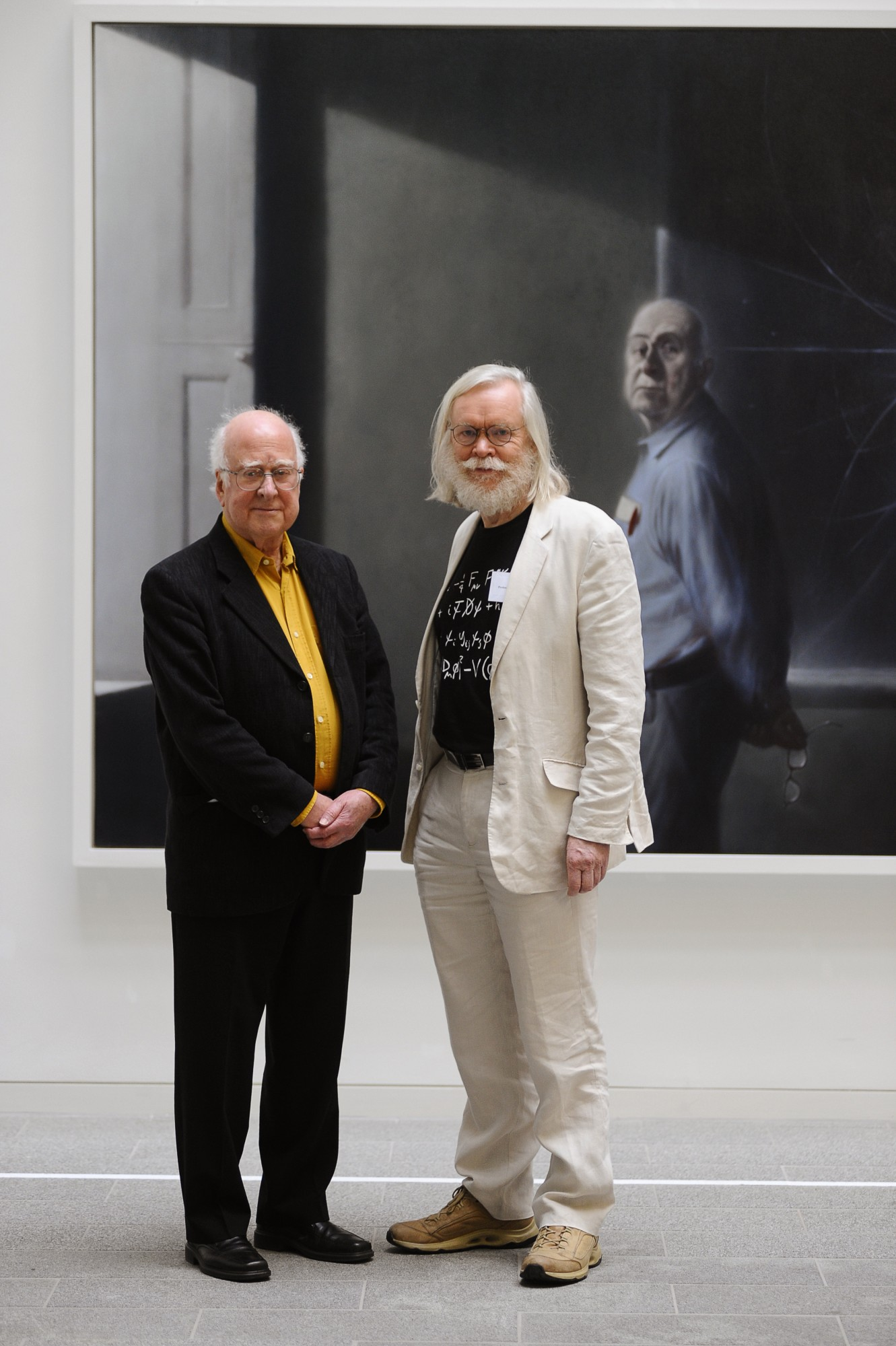 Peter Higgs with John Ellis who gave the Robin Schlapp lecture as part of the celebrations at the portrait unveiling.