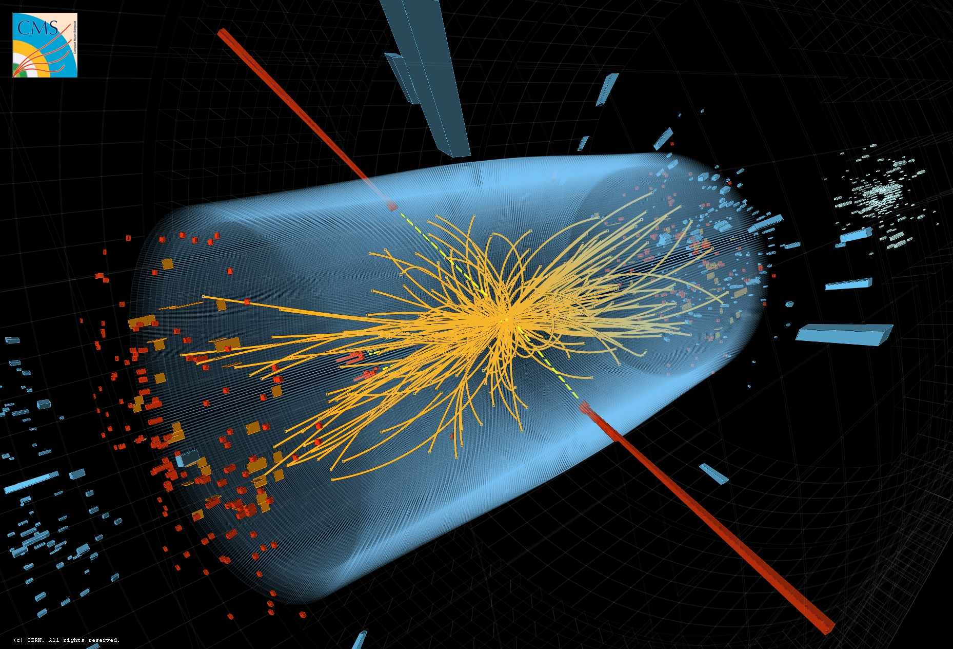 A proton-proton collision in the CMS detector, the red lines rods illustrate two detected photons produced in the high energy collision.  These could be the result of a Higgs boson being produced and decaying into two photons.