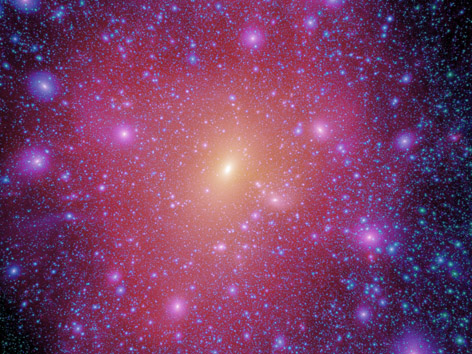 PS-1 will enable scientists to investigate the distribution and properties of the invisible dark matter by exploiting Einstein's discovery that matter bends light. (Credit: The Virgo Consortium/2008)
