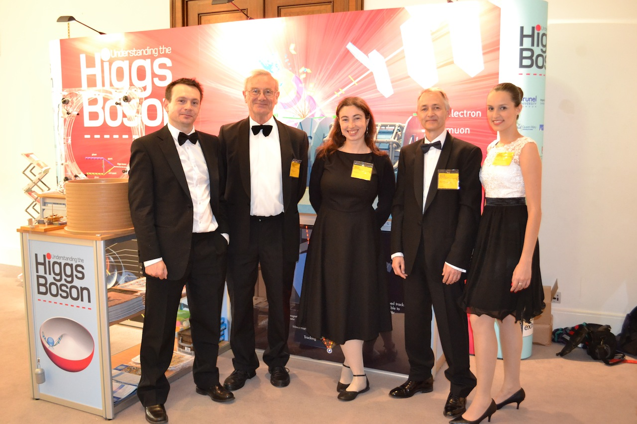 Flavia Dias, Edinburgh Particle Physics Experiment group (on the right), at one of the evening events. The group includes Frank Close (2nd from left), Professor of Physics at the University of Oxford.