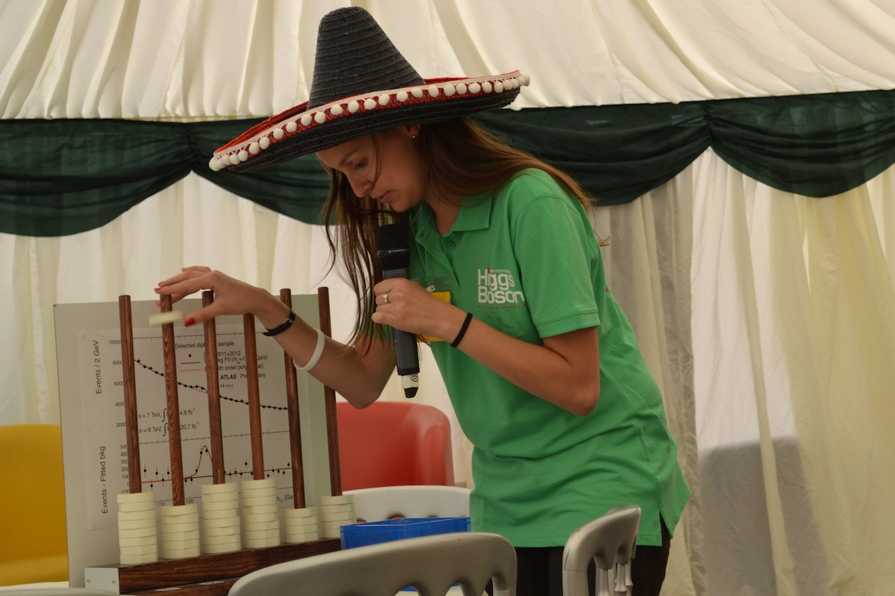 """Flavia Dias at the lunchtime show. The Mexican hat is a reference to the """"Mexican hat"""" Higgs potential."""