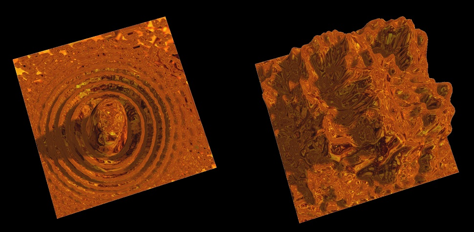"""Numerical simulations of a turbulent plate. Left: just after a strike. Right: Turbulent profile some time after the strike. Pictures taken from SounViz R 17.1, a web browser app developed by Theo Armour and based on Dr Ducceschi's modal code for plates (project under development, available here <a href=""""http://soundviz.github.io/r17/soundviz-r17.html#"""">http://soundviz.github.io/r17/soundviz-r17.html#</a>)."""