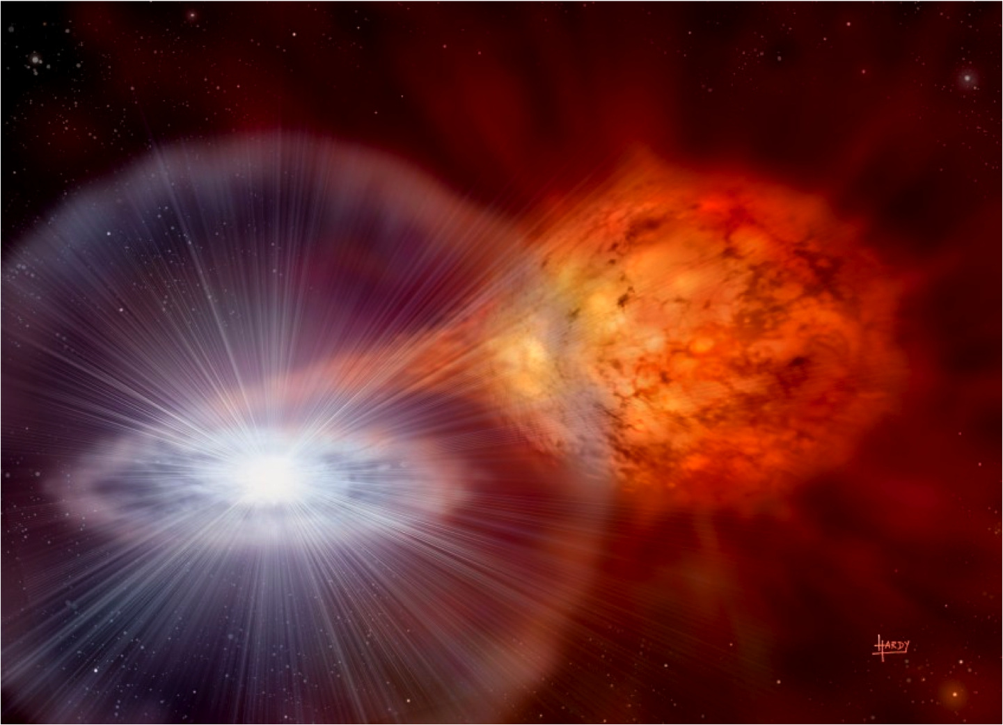 Artist's impression of an X-ray burst.