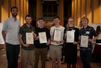 Dr Jean-Christophe Denis with some of the Edinburgh Award recipients