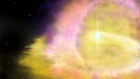 Artists impression of the supernova (credit Aaron Geller, Northwestern University)
