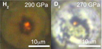Hydrogen (left) and deuterium (right) samples at very high pressures in reflected and transmitted light as seen through the diamonds.