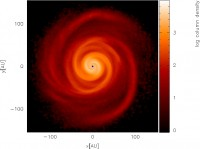 Computer simulation of a protostellar disc.